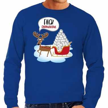 F#ck coronavirus foute rendiersweater / pak blauw heren