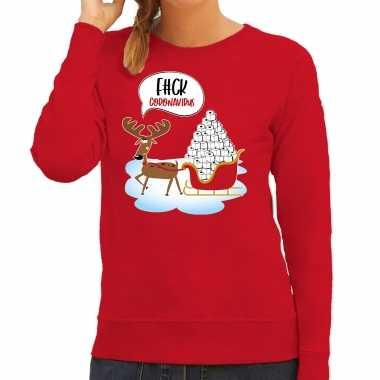 F#ck coronavirus foute rendiersweater / pak rood dames