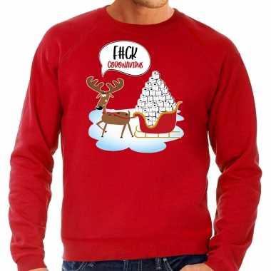 F#ck coronavirus foute rendiersweater / pak rood heren