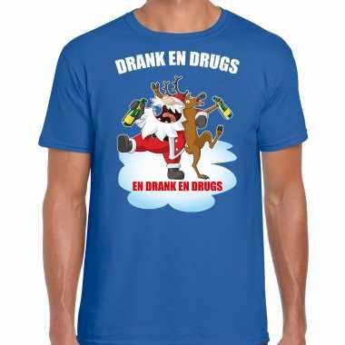Fout rendiershirt / pak drank drugs blauw heren