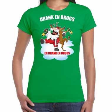 Fout rendiershirt / pak drank drugs groen dames