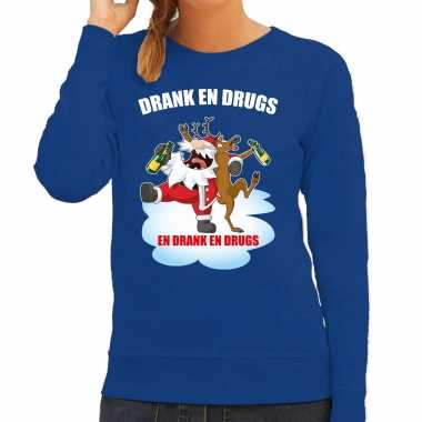 Foute rendiersweater / pak drank drugs blauw dames