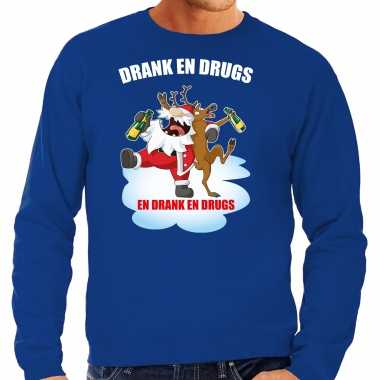 Foute rendiersweater / pak drank drugs blauw heren