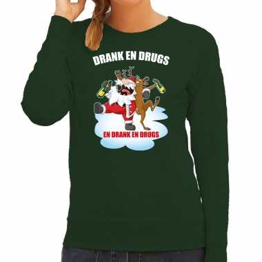 Foute rendiersweater / pak drank drugs groen dames