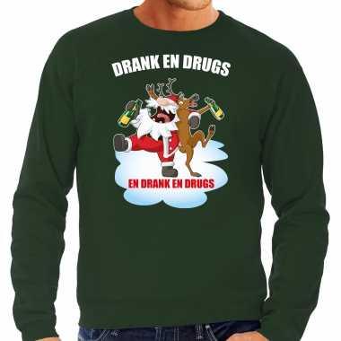 Foute rendiersweater / pak drank drugs groen heren