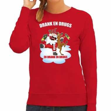 Foute rendiersweater / pak drank drugs rood dames