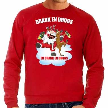 Foute rendiersweater / pak drank drugs rood heren