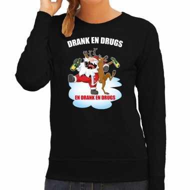 Foute rendiersweater / pak drank drugs zwart dames