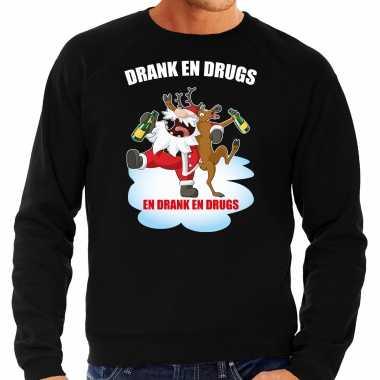 Foute rendiersweater / pak drank drugs zwart heren