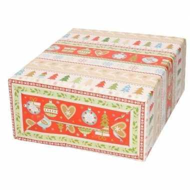 Pakket stuks rendierpapier rol rode/groene bomen rendieren bij