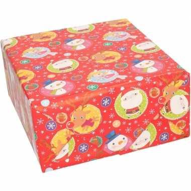 Pakket stuks rendierpapier rol rood elfje/sneeuwpop/rendier print bij