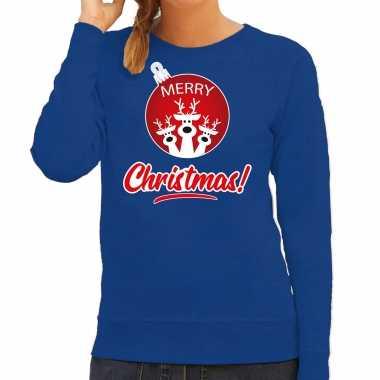 Rendier rendierbal sweater / rendier pak merry christmas blauw dames