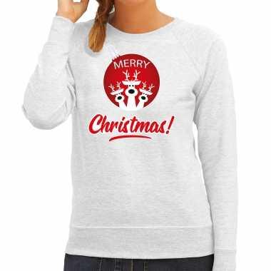 Rendier rendierbal sweater / rendier pak merry christmas grijs dames