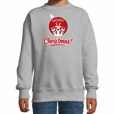 Rendier rendierbal sweater / rendier pak merry christmas grijs kinderen