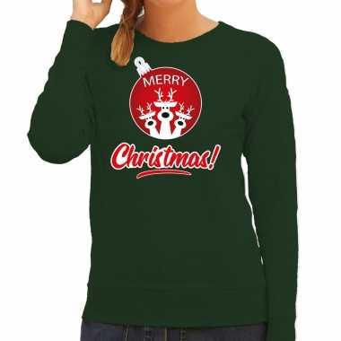 Rendier rendierbal sweater / rendier pak merry christmas groen dames