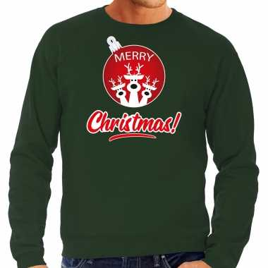 Rendier rendierbal sweater / rendier pak merry christmas groen heren
