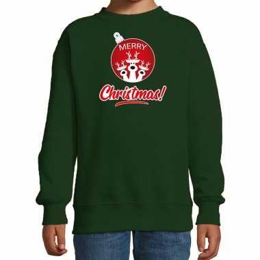 Rendier rendierbal sweater / rendier pak merry christmas groen kinderen
