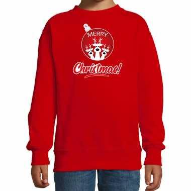 Rendier rendierbal sweater / rendier pak merry christmas rood kinderen