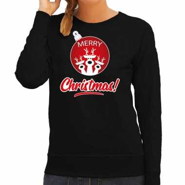 Rendier rendierbal sweater / rendier pak merry christmas zwart dames