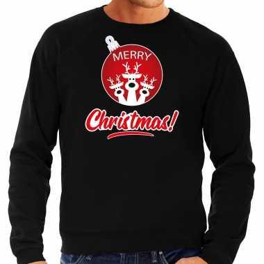 Rendier rendierbal sweater / rendier pak merry christmas zwart heren
