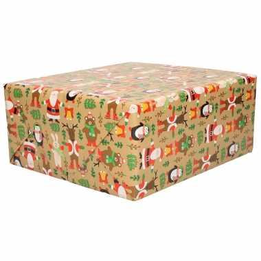 X rollen rendier inpakpapier/cadeaupapier bruin , bij , meter