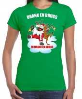 Fout rendiershirt pak drank drugs groen dames
