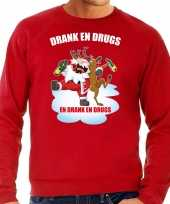 Foute rendiersweater pak drank drugs rood heren
